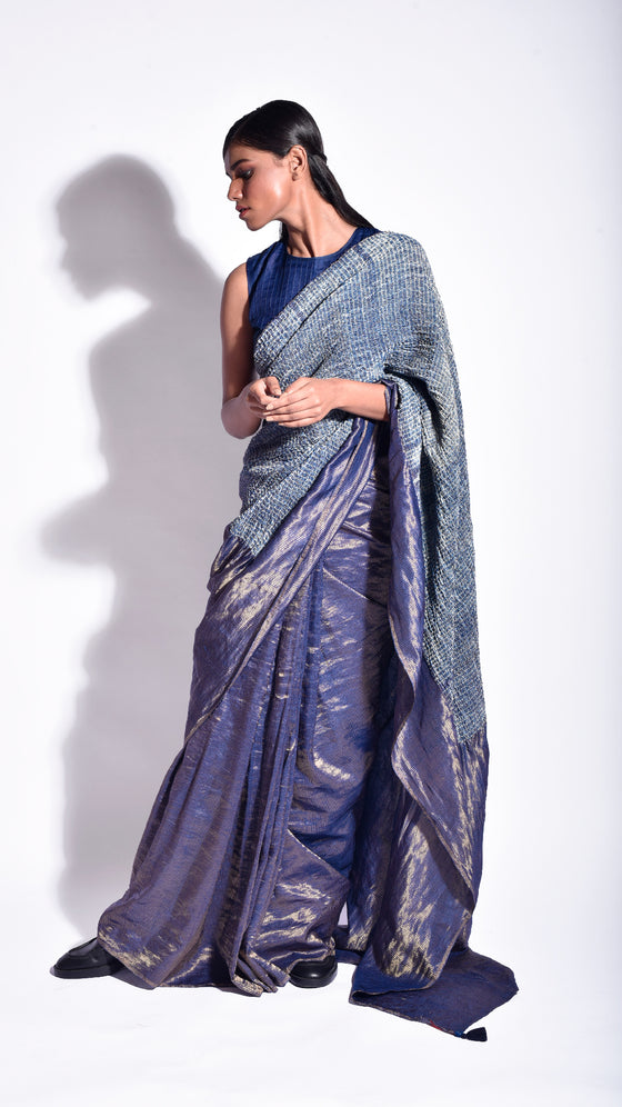 Navy Metallic Mokume Saree