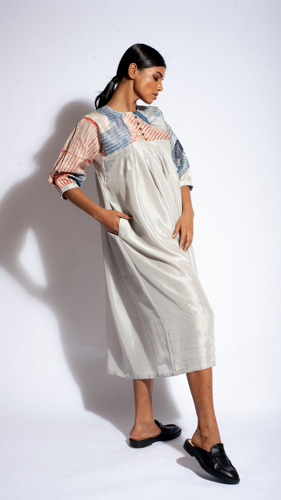 PALE GREY METALLIC ARASHI BORO DRESS
