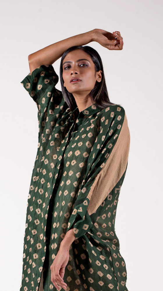 Bottle green Free-size Bandhani Shirt