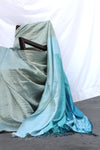 Blue Ombre Metallic Shibori Saree