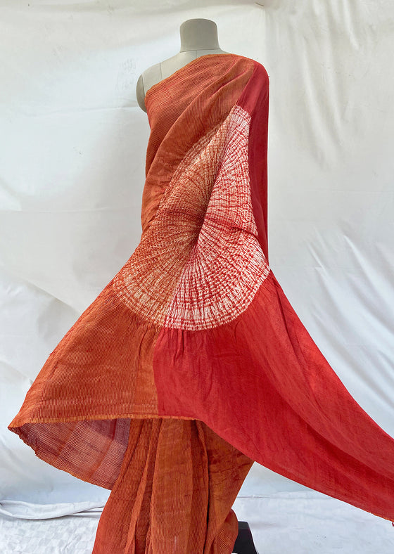 Red Metallic Handsfree Saree