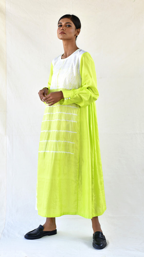 Lime Silk Shibori Dress