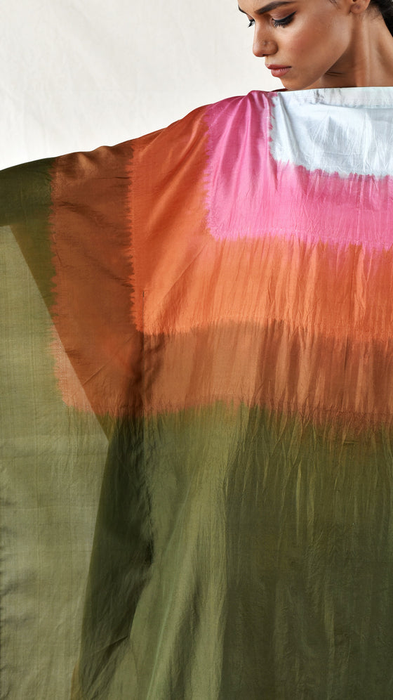 Colour-blocked Silk Kaftan