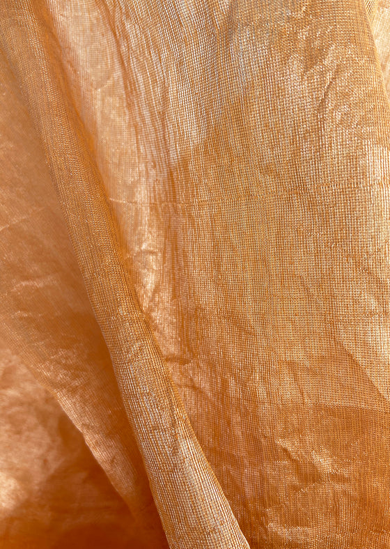 Peach Metallic Arashi Saree