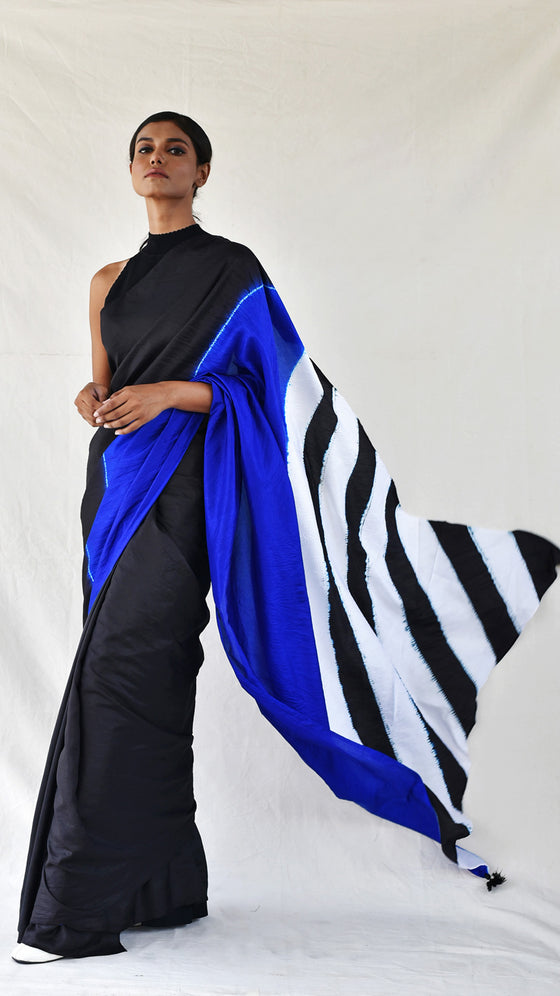 Blue-Black Colour-blocked Shibori Saree