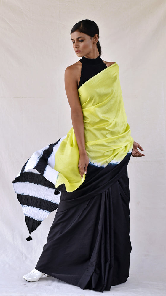 Lime-black Colour-blocked Shibori Saree
