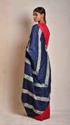 Navy-red shibori tussar saree