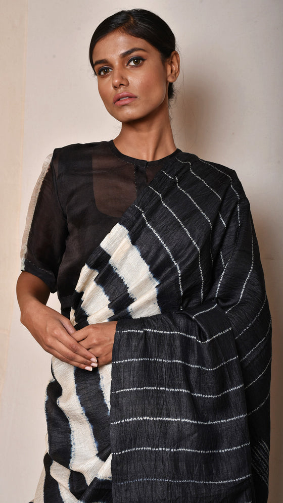 Black-Ivory Striped Shibori Saree