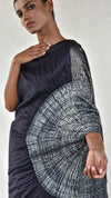 Grey-Black Ombre Metallic Handsfree Saree