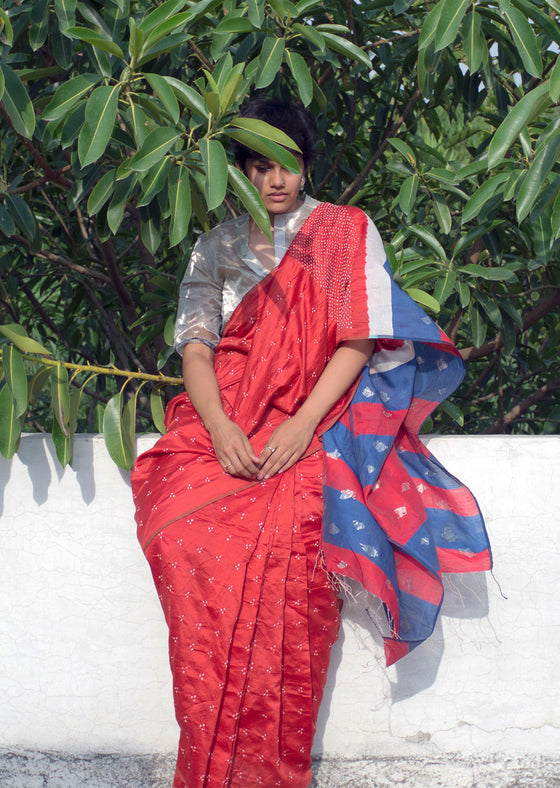 Red Jam-Ban saree