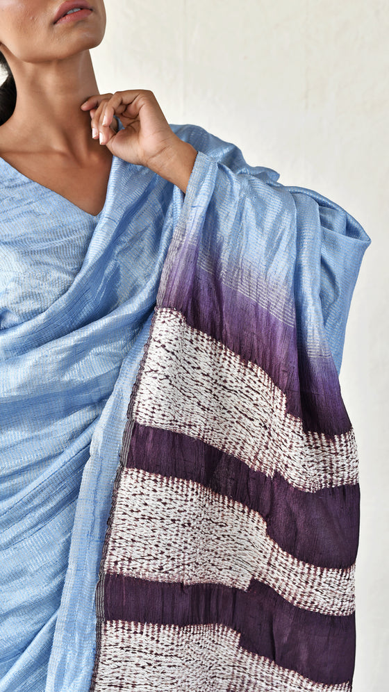Icy Blue-Brown Metallic Shibori Saree