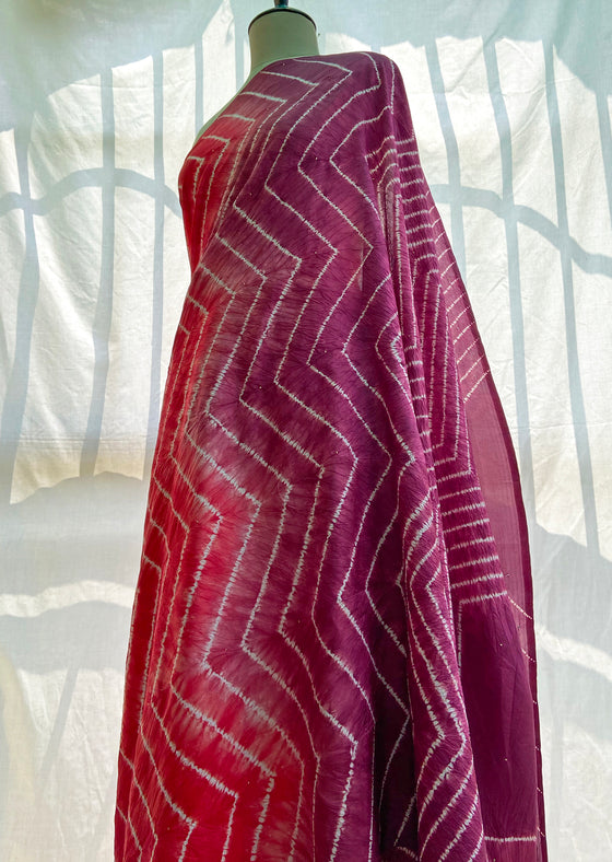 Red-Purple Nui Shibori saree