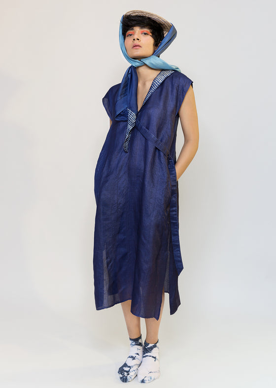 Naturally dyed tussar V tunic