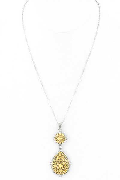 Rhodium/Gold Plated Teardrop Filigree Necklace