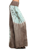 Womens Taupe & Mint Spiral Tie Dye Stretch Palazzo Yoga Pants