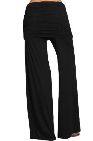 Womens Black Ruched Fold Over Waist Wide Leg Palazzo Fashion Pants