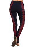 Womens Navy Blue & Red Tie Dye Self Banded Waist Leggings Skinny Pants