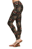 Womens Black Mineral Wash Multi Colored Tribal Print Skinny Leggings