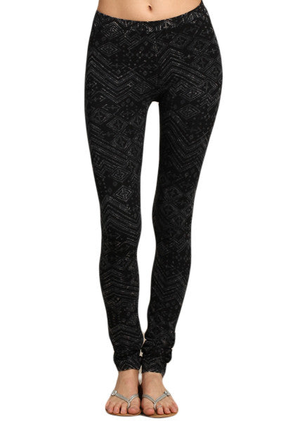 Womens Dark Charcoal Black & Gray Mineral Washed Tribal Print Skinny Pants Leggings