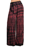 Womens Red & Black Super Wide Leg Stretch Smocked Hippie Boho Palazzo Pants