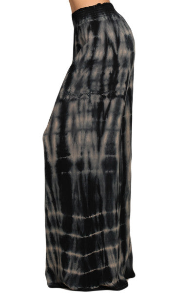 Womens Gray & Black Super Wide Leg Stretch Smocked Hippie Boho Palazzo Pants