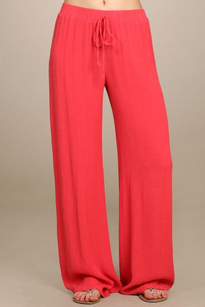 Womens Coral Red Textured Crinkle Fabric Wide Leg Drawstring Pants