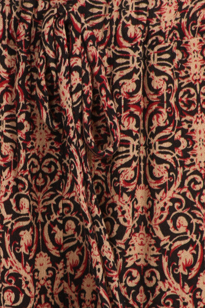 Womens Red Peach Beige Oriental Print Wide Leg Drawstring Palazzo Pants