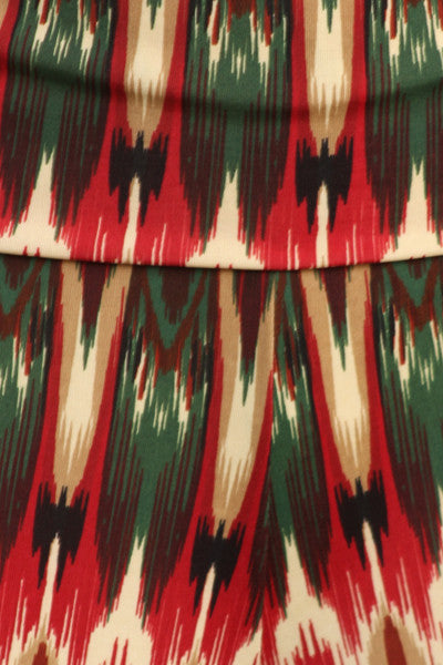 Womens Red & Green Tribal Abstract Print Wide Leg Fold Over Palazzo Pants