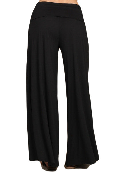 Womens Solid Black Side Slit Leg Fold Over Wasit Wide Palazzo Pants