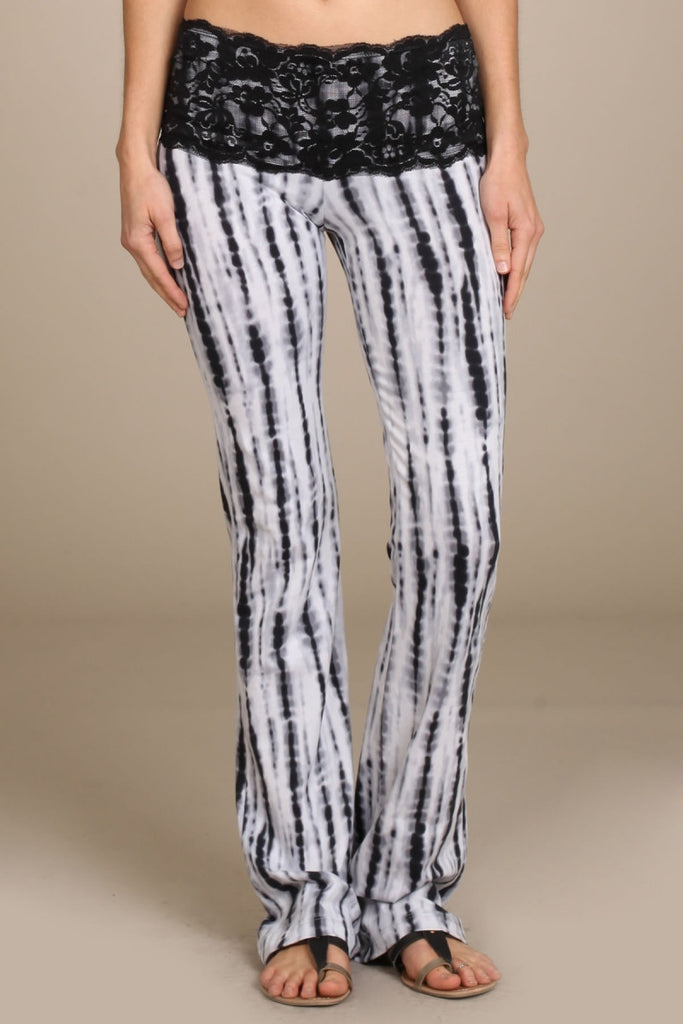 Womens Black & White Bamboo Tie Dye Print Lace Band Bootcut Pants