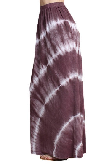 Womens Mauve Purple & White High Waist Spiral Tie Dye Gypsy Maxi Skirt
