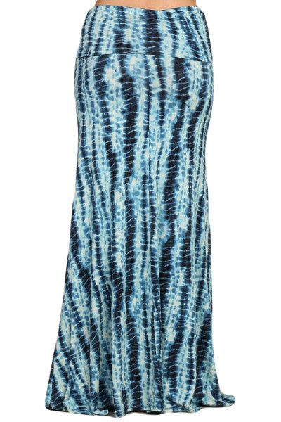 Womens Sexy Blue Bamboo Tie Dye Print Fold Over Long Maxi Skirt