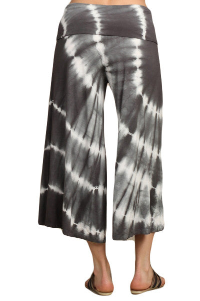 Womens Dark Heather Gray & White Hand Dyed Tie Dye Gaucho Pants
