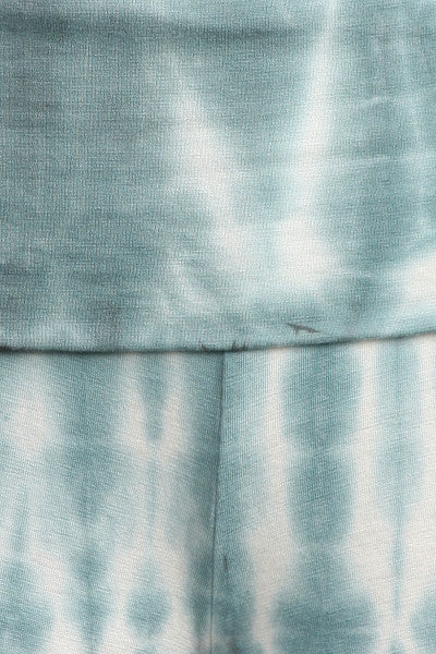 Womens Sea Foam Blue Green & White Hand Dyed Tie Dye Gaucho Pants