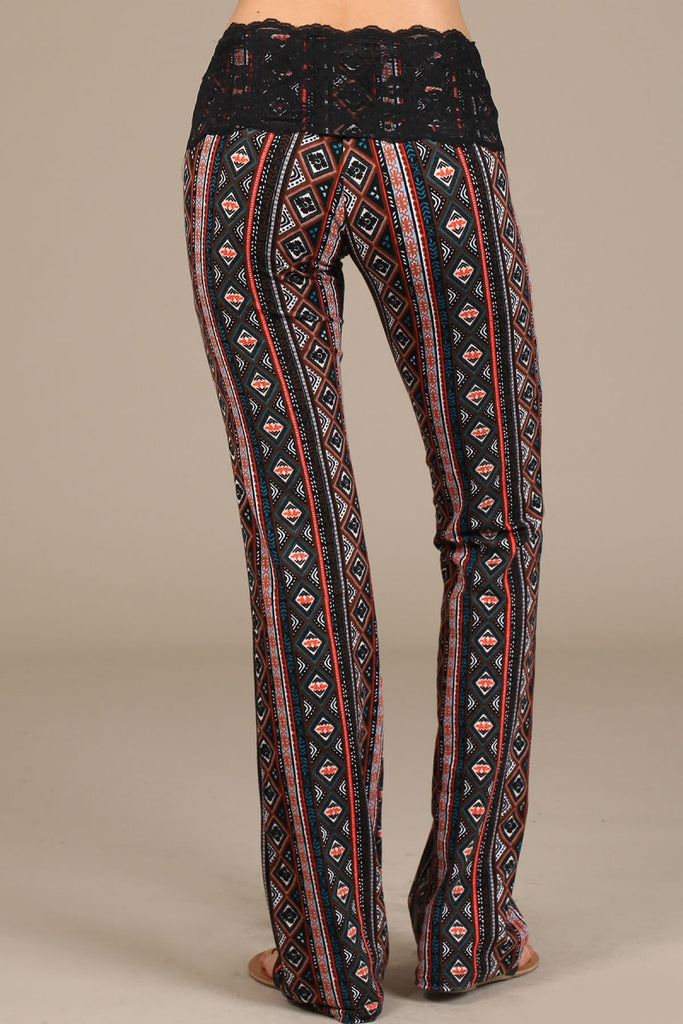 Womens Red & Black Tribal Ethnic Print Lace Band Bootcut Pants