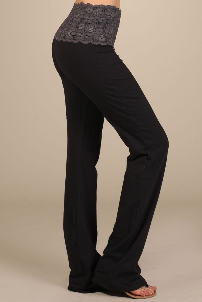 Womens Black & Taupe Lace Band Bootcut Pants