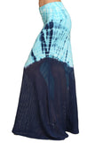 Womens Blue & Aqua Diagonal Tie Dye Mixed Material Long Maxi Skirt