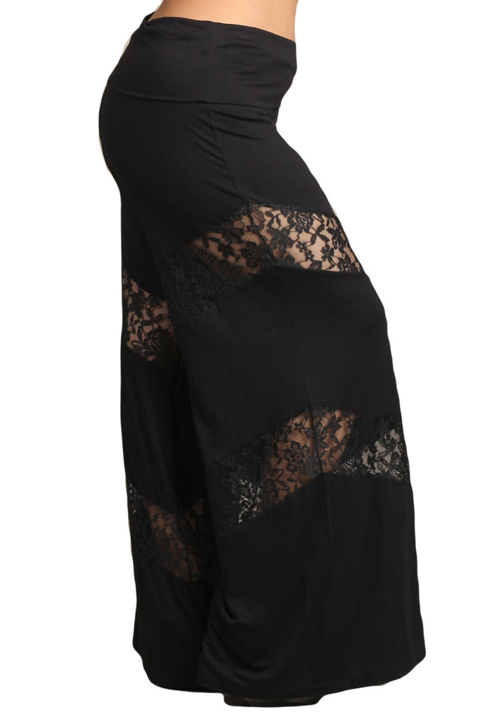 Womens PLUS SIZE Black Mixed Material Lace Inset Wide Leg Palazzo Pants