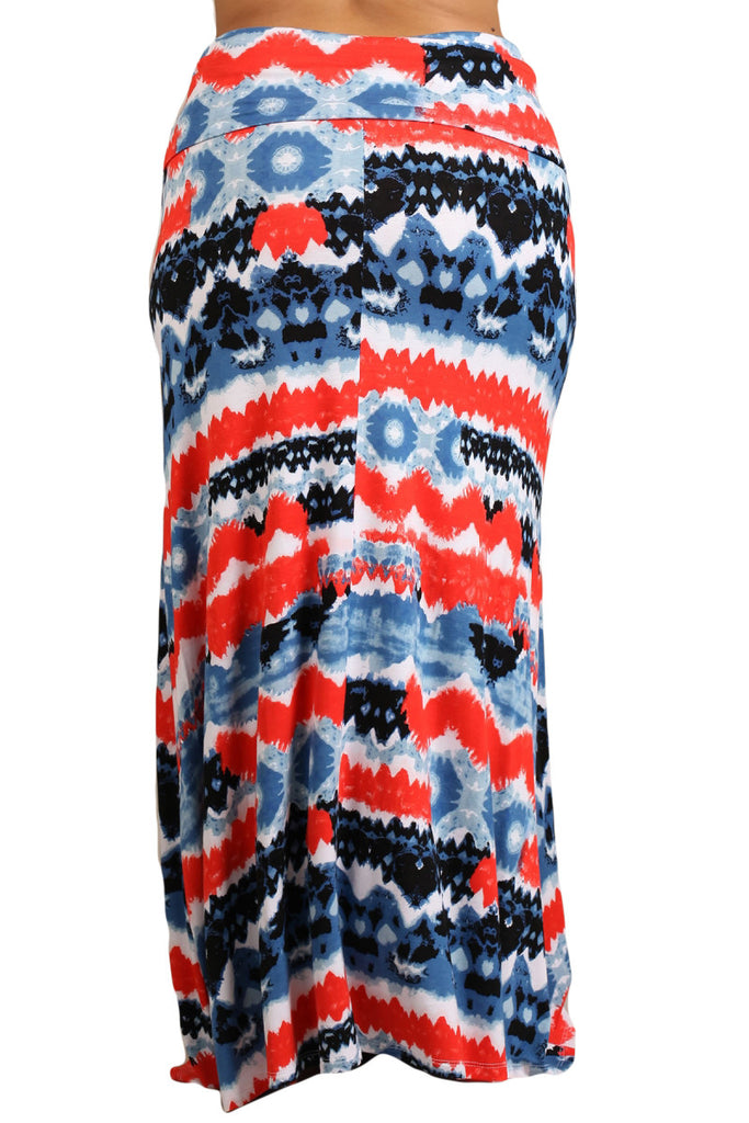 Womens PLUS SIZE Red & Blue Tribal Tie Dye Print Long Maxi Skirt