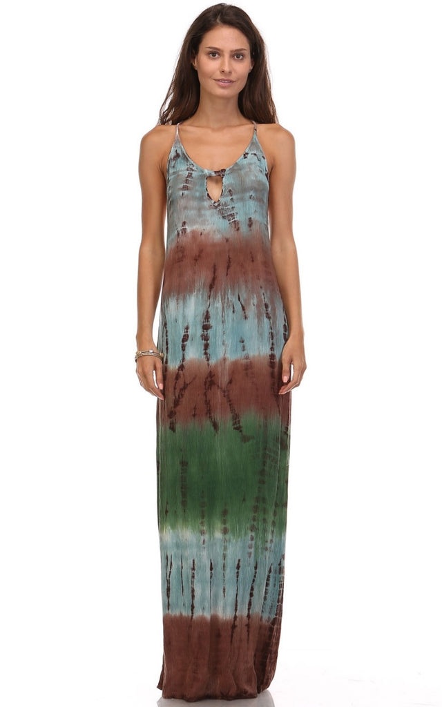 Womens Green Blue & Brown Bamboo Tie Dye Color Block Gauze Long Maxi Dress
