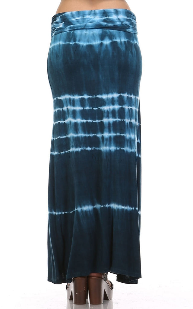 Womens Blue & White Electric Striped Tie Dye Long Maxi Skirt (MATCHING TOP SOLD SEPARATELY)
