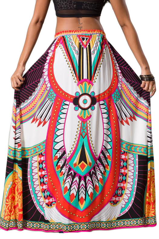 Womens White Black Geometric Tribal Print Ethnic Gypsy Long Boho Maxi Skirt