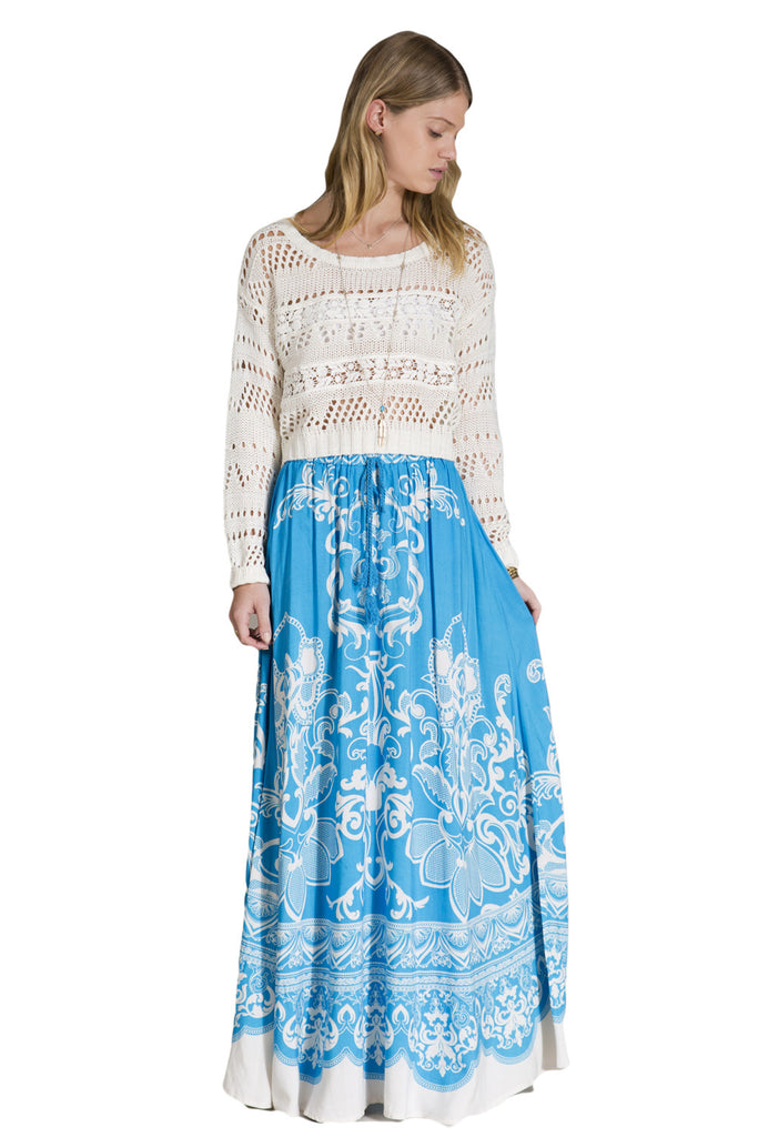 Womens Blue & Ivory Floral Print Ethnic Long Full Length Boho Gypsy Maxi Skirt