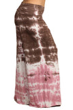 Womens PLUS SIZE Brown & Pink Color Block Tie Dye Palazzo Pants