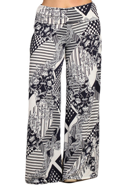 Womens PLUS SIZE Navy Blue & White Geometric Tribal Print Wide Leg Palazzo Pants