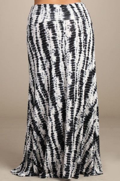 Womens PLUS SIZE Black And White Bamboo Tie Dye Print Long Maxi Skirt