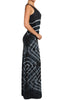 Womens Dark Navy Tie Dye U Neck Criss Cross Back Full Length Maxi Dress