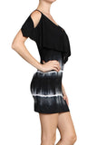 Womens Black Stripe Tie Dye Cold Shoulder Layered Stretch Mini Dress