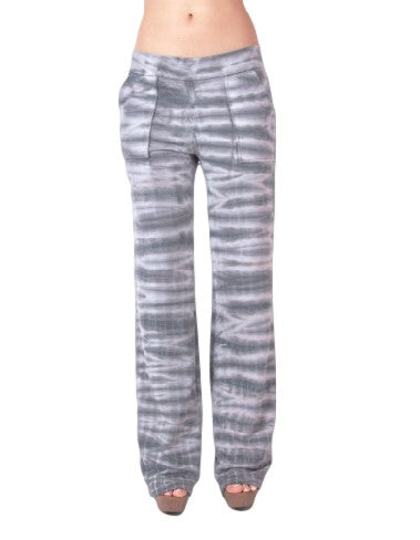 Womens Gray & White Tiger Stripe Tie Dye Bootcut Stretch Pocket Yoga Pants