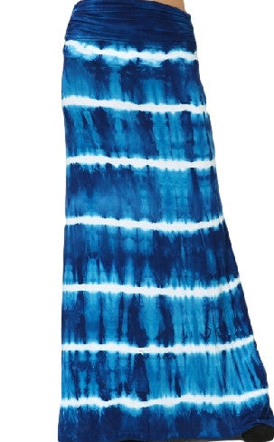 Womens Blue & White Striped Tie Dye Fold Over Boho Hippie Maxi Skirt